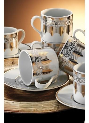 Kütahya Porselen Rüya 7048 Desen Kahve Fincan Takımı Renkli